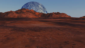 Red planet and distant planet. 3d render. Red planet and distant planet stock photo