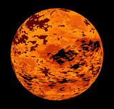 The Red Planet. A red fire ball planet over a black background Stock Images