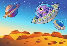 Red planet with flying saucers Royalty Free Stock Photography