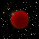 Red planet icon. Red planet in open space Stock Photo