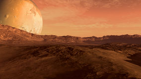 Red planet with Mars-like moon Royalty Free Stock Image
