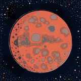 Red Planet Mars. On dark background with stars. Vector Illustration Stock Photo
