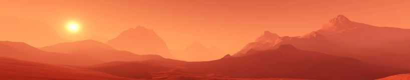 Red planet, panoramic landscape of Mars. Nextraterrestrial panorama Royalty Free Stock Image