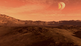 Red planet with Saturn-like moon Royalty Free Stock Photos