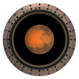 Red Planet In The Spacecraft Porthole Royalty Free Stock Image