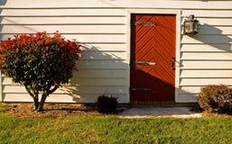 Red Plank Door Stock Photo