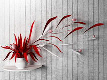 Red plant on the shelf, Stock Images
