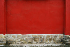 Red plastered wall Stock Photography