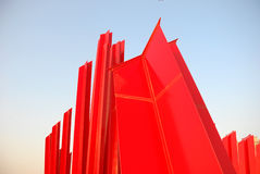 Red plastic baffle. In outdoor sky Royalty Free Stock Photos