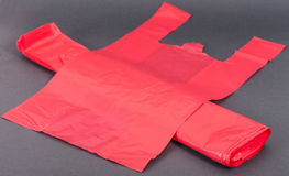 Red plastic bags. Plastic bags on white background Royalty Free Stock Photography