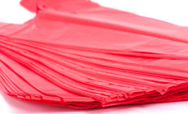 Red plastic bags. Plastic bags on white background Stock Photography