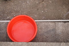 Red plastic basin Stock Image