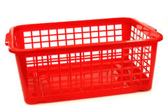 Red plastic basket Stock Photo