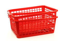 Red plastic basket Royalty Free Stock Photos