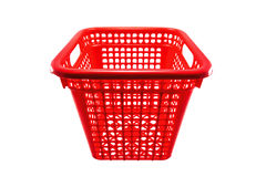 Red plastic basket. Close up shot of red plastic basket on isolate white background Royalty Free Stock Images
