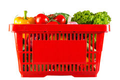Red plastic basket full of  vitamins Stock Image
