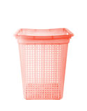 Red plastic basket  on white background Royalty Free Stock Photo
