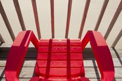 Red Plastic Beach Chair stock photography