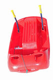 Red plastic bob with metal brake levers for play and to descend. From the mountains Stock Photography
