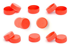 Red plastic bottle cap on white background Royalty Free Stock Photo