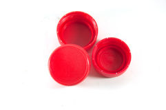 Red plastic bottle screw caps Royalty Free Stock Photos