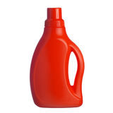 Red plastic bottle of shampoo, conditioner, hair rinse, gel, iso Royalty Free Stock Image