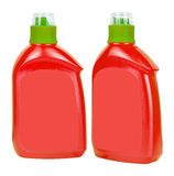 Red plastic bottles for liquid soap Royalty Free Stock Photography