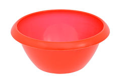 Red plastic bowl Stock Image