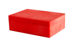 Red plastic box. Isolated on a white background Stock Photo