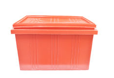 Red plastic box packaging of finished goods product stock photo