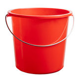 Red plastic bucket. A red plastic bucket isolated on a white background Royalty Free Stock Photo
