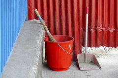 Red plastic bucket Stock Image