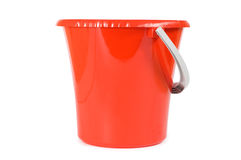 Red plastic bucket isolated on white Stock Images