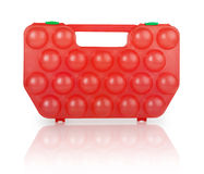 Red plastic case for eggs Stock Photo