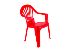 Red plastic chair on a white background Royalty Free Stock Photography