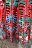 Red plastic chairs. Royalty Free Stock Photo