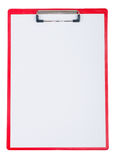 Red plastic clipboard with blank paper sheet Stock Image