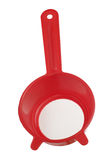 Red plastic colander Stock Photo