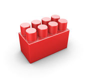 Red plastic construction element of the children designer Stock Photos