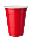 Red Plastic Cup With Clipping Path Stock Images