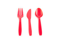 Red plastic cuttlery Stock Image
