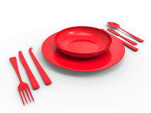 Red plastic dinner ware. 3D rendered illustration of red disposable plastic dinnerware. The composition is isolated on a white background with shadows Royalty Free Stock Photos