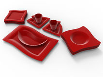 Red plastic dinner ware. 3D rendered illustration of a set of red disposable plastic picnic ware Stock Photo
