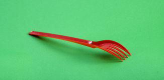 Red plastic disposable fork Royalty Free Stock Photography