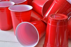 Red Plastic Drinking Cups stock photos