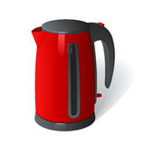 Red plastic electric kettle on a round base with a handle on a white background Stock Images