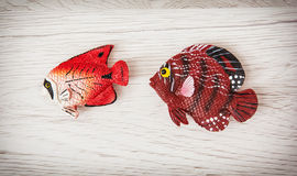 Red plastic fish toys Royalty Free Stock Photos