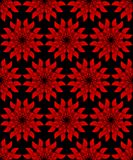 Red plastic flower on black background. Seamless vector background. Contrasting ornament background. Symmetric red flower. Patterns with relief effect. Red vector illustration