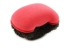 Red plastic and foam abrasive pad Royalty Free Stock Photography
