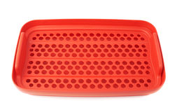 Red plastic food container isolated over the white background Royalty Free Stock Photos